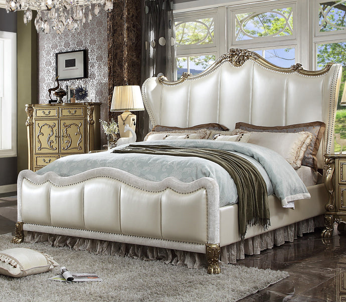 Acme Dreseden II Gold Wood Finish Queen Bed