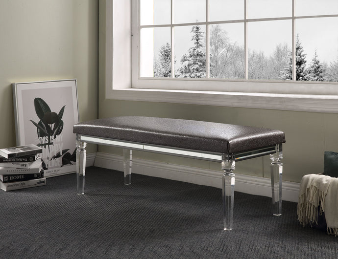 Acme Sawyer Metalic Gray Acrylic Finish Bedroom Bench