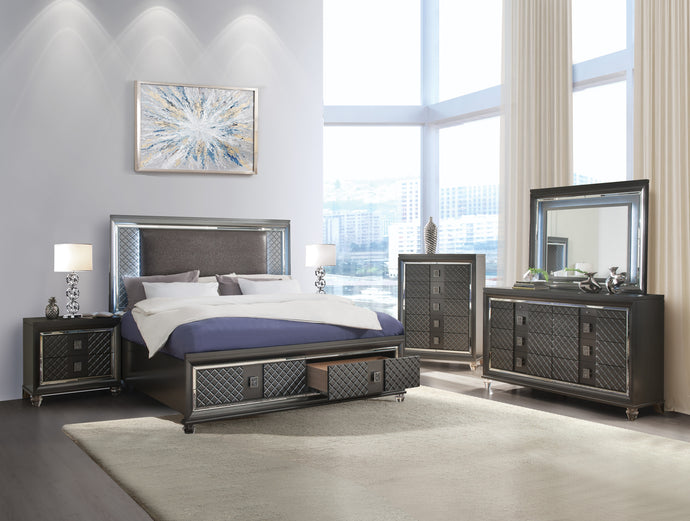 Acme Sawyer Metalic Wood Contemporary Finish 4 Piece Eastern King Bedroom Set