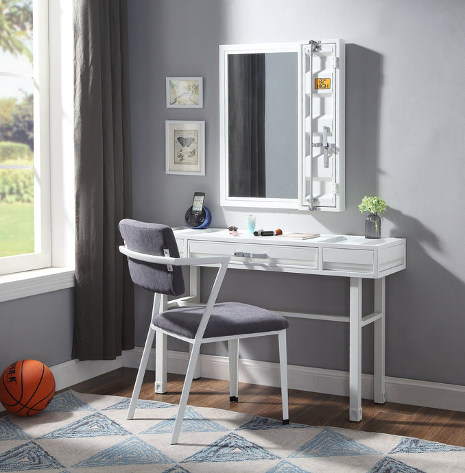 Acme Cargo White Metal Finish Kids Vanity Set With Mirror And Chair