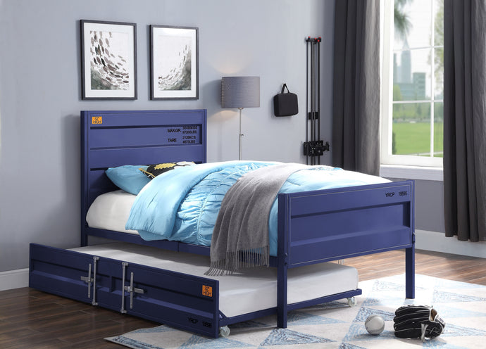Acme Cargo Blue Metal Finish Twin Kids Bed With Trundle