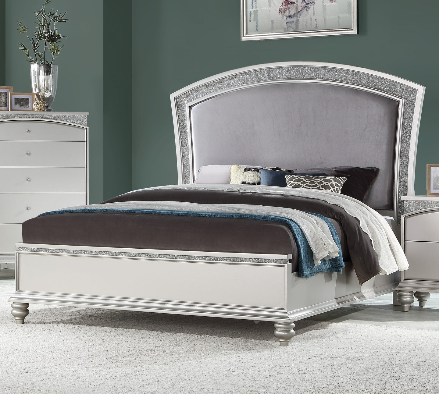 Acme Maverick Platinum Wood Finish Eastern King Bed