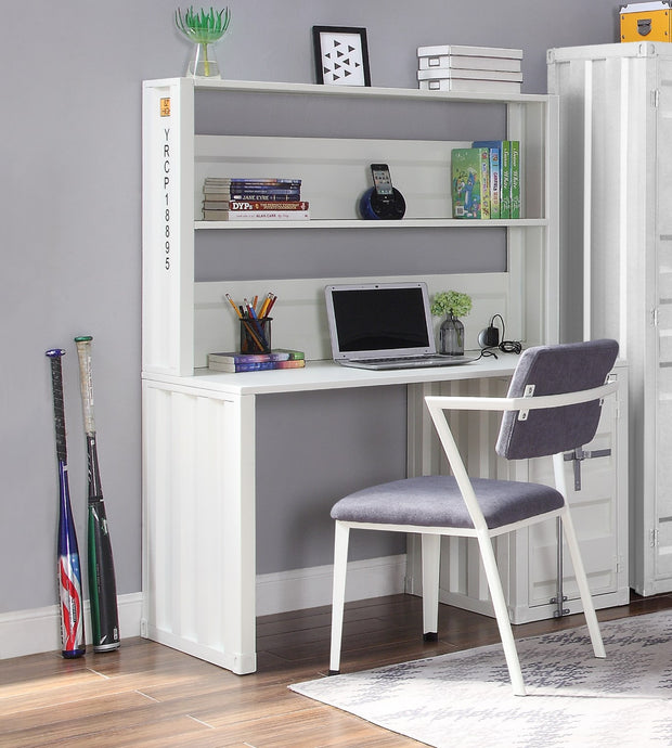 Acme Cargo White Metal Finish Desk & Hutch Set With Chair