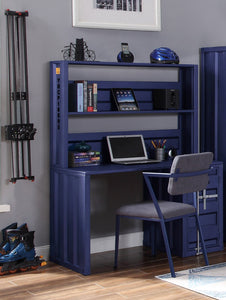 Acme Cargo Blue Metal Finish Desk & Hutch Set With Chair