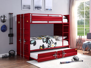 Acme Cargo Red Metal Finsh Full Over Full Bunk Bed