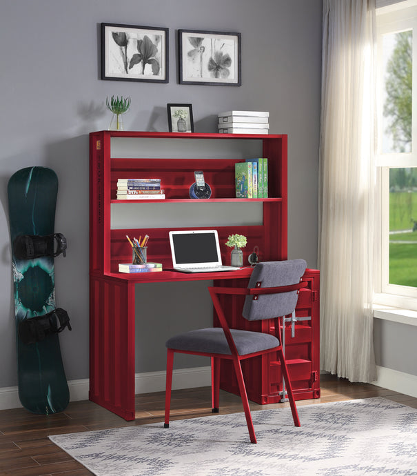 Acme Cargo Red Metal Finish Desk & Hutch Set With Chair
