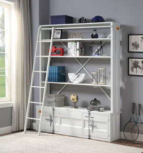Acme Cargo White Metal Finish Kids Bookcase With Ladder