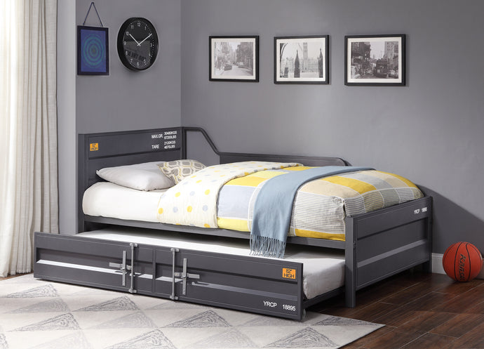 Acme Cargo Gunmetal Metal Finish Twin Daybed With Trundle