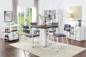 Acme Cargo White Metal And Wood Finish 5 Piece Dining Table Set