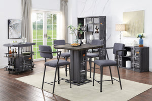 Acme Cargo Gunmetal Metal And Wood Finish 5 Piece Dining Table Set