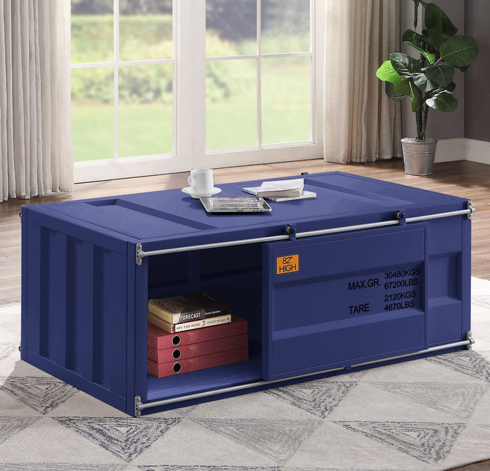 Acme Cargo Blue Metal Finish Coffee Table