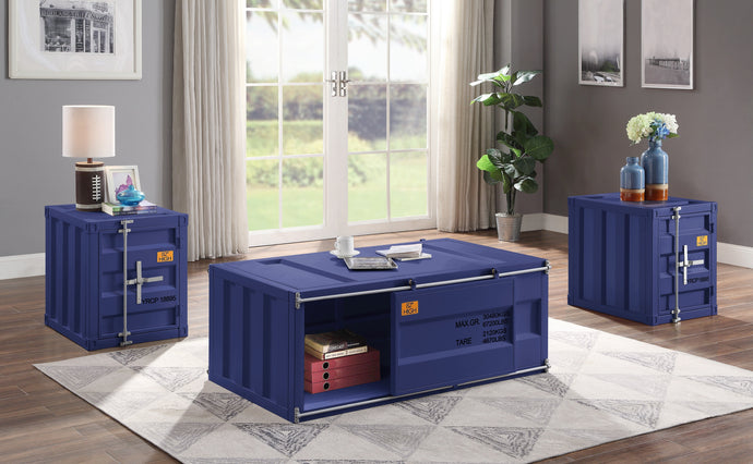 Acme Cargo Blue Metal Finish 3 Piece Coffee Table Set