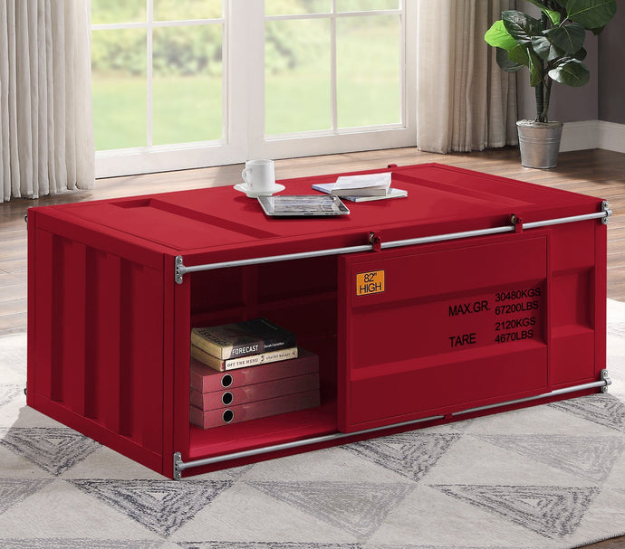Acme Cargo Red Metal Finish Coffee Table