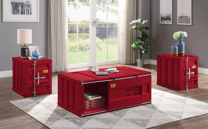Acme Cargo Red Metal Finish 3 Piece Coffee Table Set