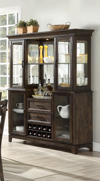 Acme Jameson Brown Wood Finish Hutch And Buffet