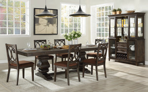 Acme Jameson Brown Wood Finish 7 Piece Rectangle Dining Table Set