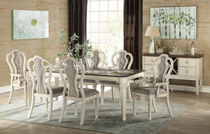 Acme Kayley Weather Oak Wood Finish 7 Piece Rectangle Dining Table Set