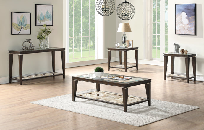 Acme Peregrine Dark Brown Wood Finish 3 Piece Coffee Table Set