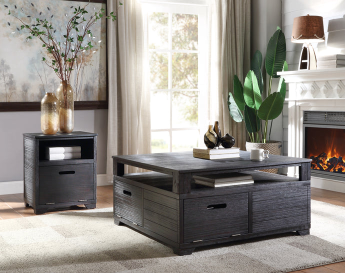 Acme Kamilia Black Wood Finish 3 Piece Coffee Table Set