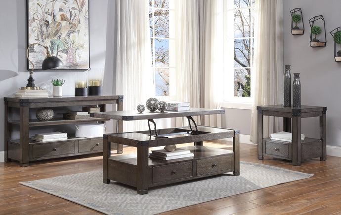 Acme Melville Dark Gray Wood Finish 3 Piece Coffee Table Set