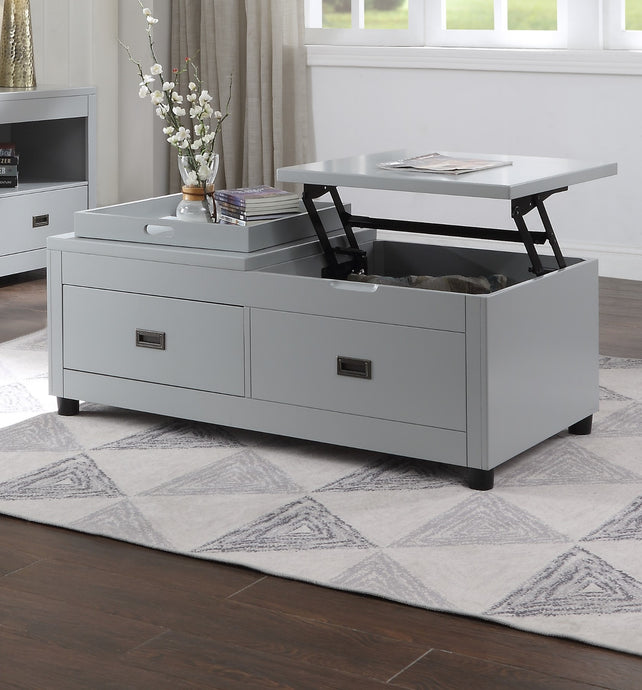 Acme Eleanor White Wood Finish Transitional Coffee Table
