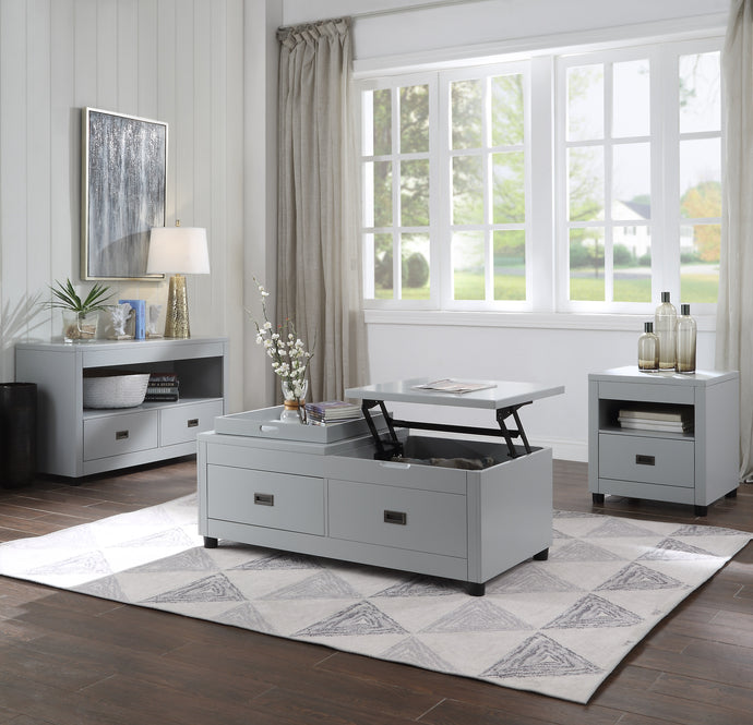 Acme Eleanor White Wood Finish Transitional 3 Piece Coffee Table Set