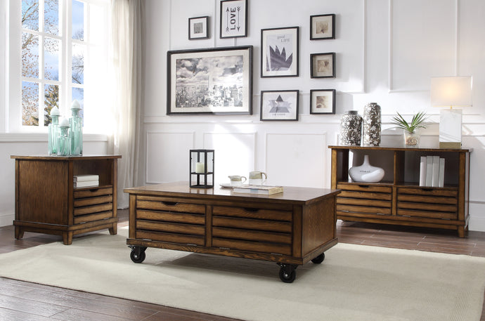 Acme Gabriella Cherry Wood Finish 3 Piece Coffee Table Set