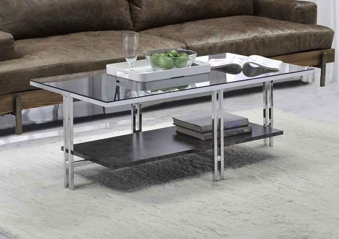 Acme Liddell Chrome And Glass Finish Coffee Table