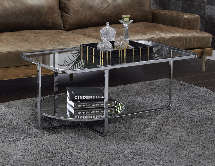 Acme Hollo Chrome And Glass Finish Coffee Table