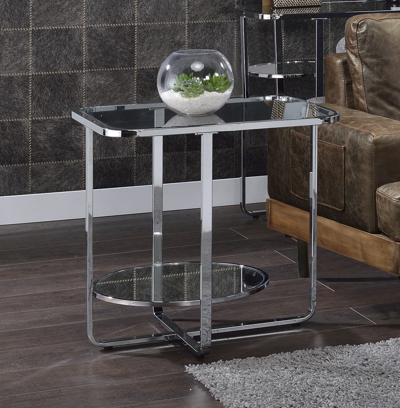 Acme Hollo Chrome And Glass Finish End Table