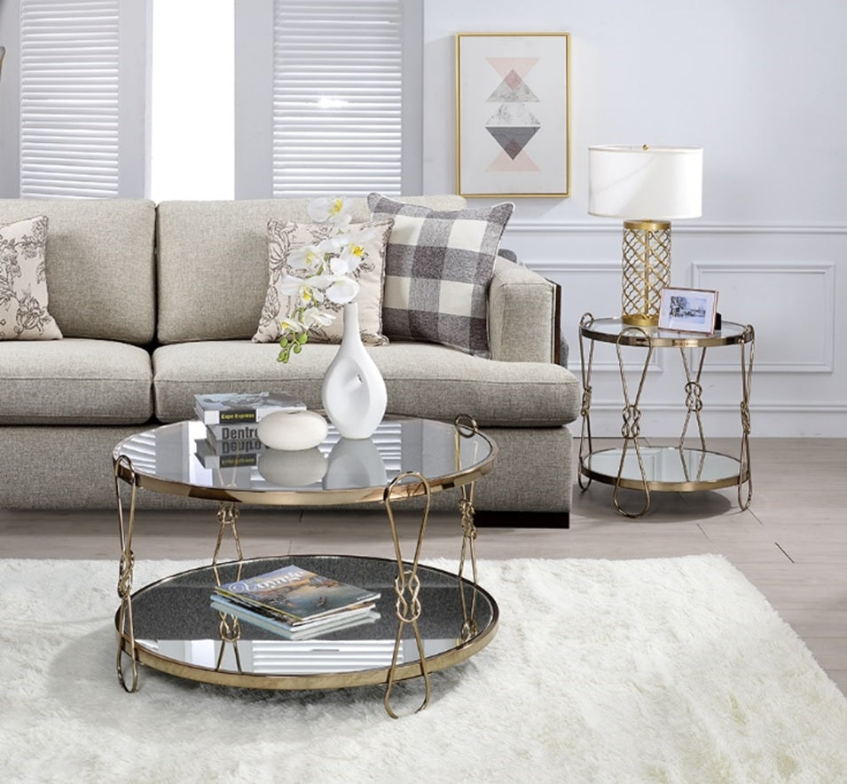 Acme Zekera Champagne Metal And Glass Finish 3 Piece Coffee Table Set