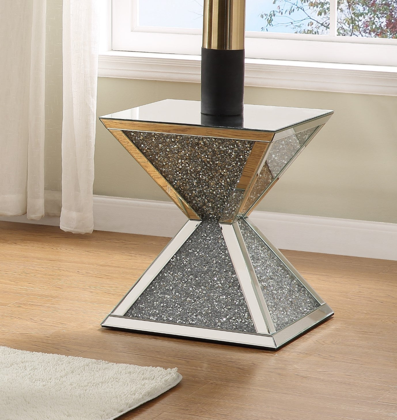 Acme Noralie White Mirrored Finish End Table