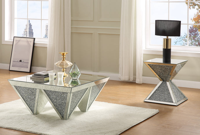 Acme Noralie White Mirrored Finish 3 Piece Coffee Table Set