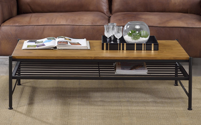 Acme Kande Black And Brown Metal Finish Coffee Table