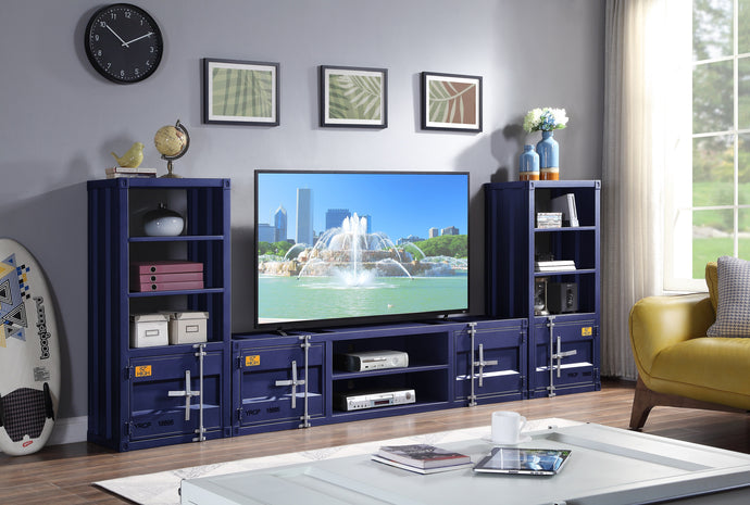 Acme Cargo Blue Metal Finish Entertainment Center