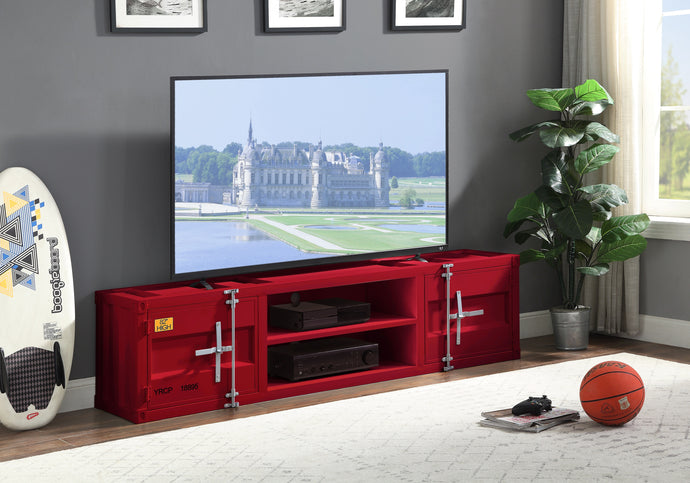 Acme Cargo Red Metal Finish TV Stand