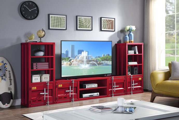 Acme Cargo Red Metal Finish Entertainment Center