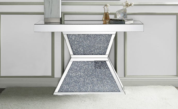 Acme Noralie Mirrored & Faux Diamonds Finish Console Table