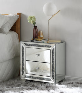 Acme Noralie Mirrored & Faux Diamonds Finish 2 Drawers Nightstand