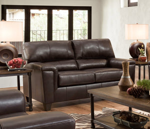 Acme Phygia Dark Brown Grain Leather Finish Loveseat