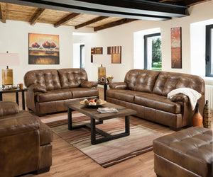 Acme Saturio Brown Grain Leather Finish 2 Piece Sofa Set