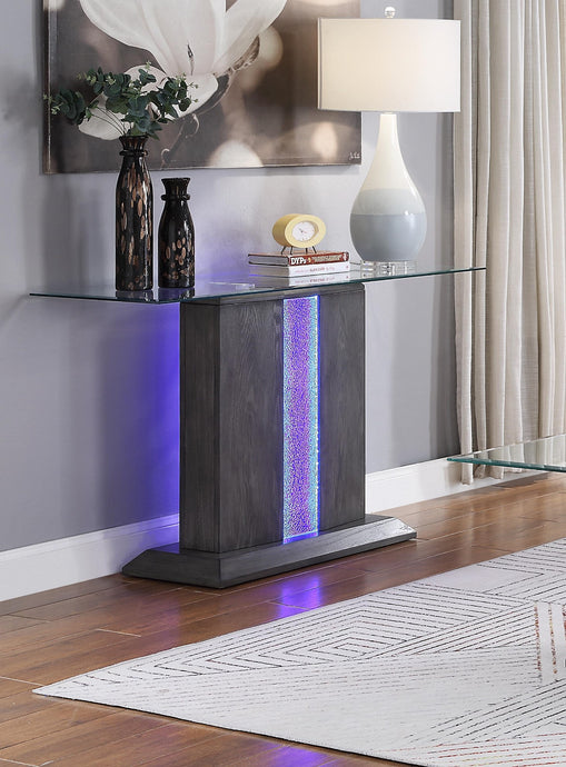 Acme Bernice Gray Oak Wood And Glass Finish Console Table
