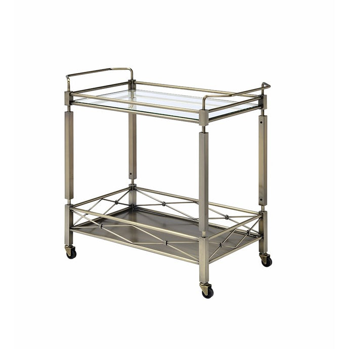 Acme Metiesen Gold Glass Chrome Finish Service Cart