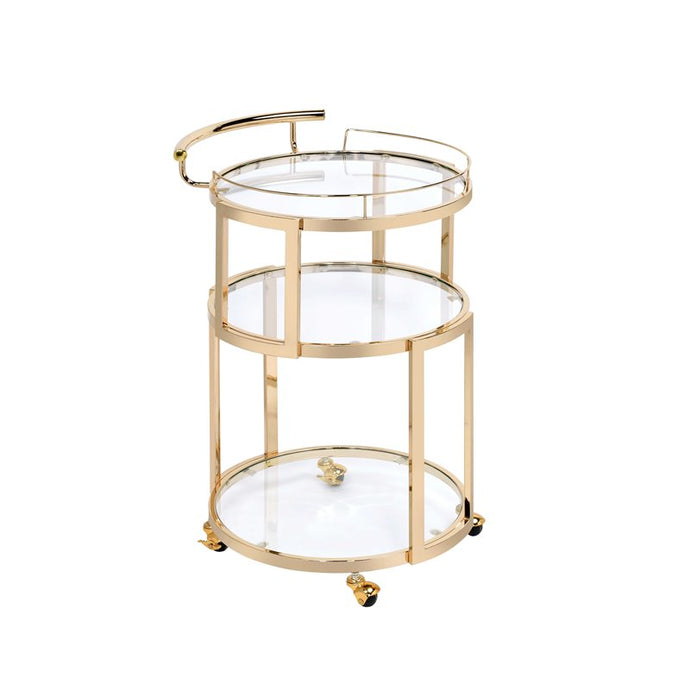 Acme Madelina Gold Chrome And Glass Finish Service Cart