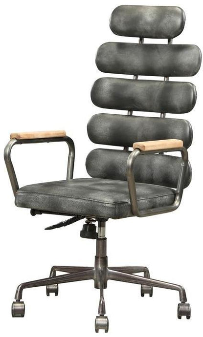 Acme Calan Black Grain Leather Finish Office Chair