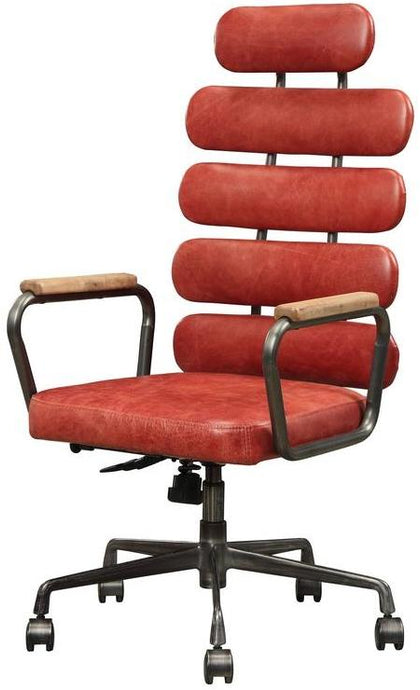 Acme Calan Red Leather Finish Office Chair