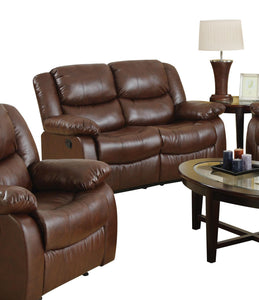 Acme Fullerton Brown Bonded Leather Finish Loveseat