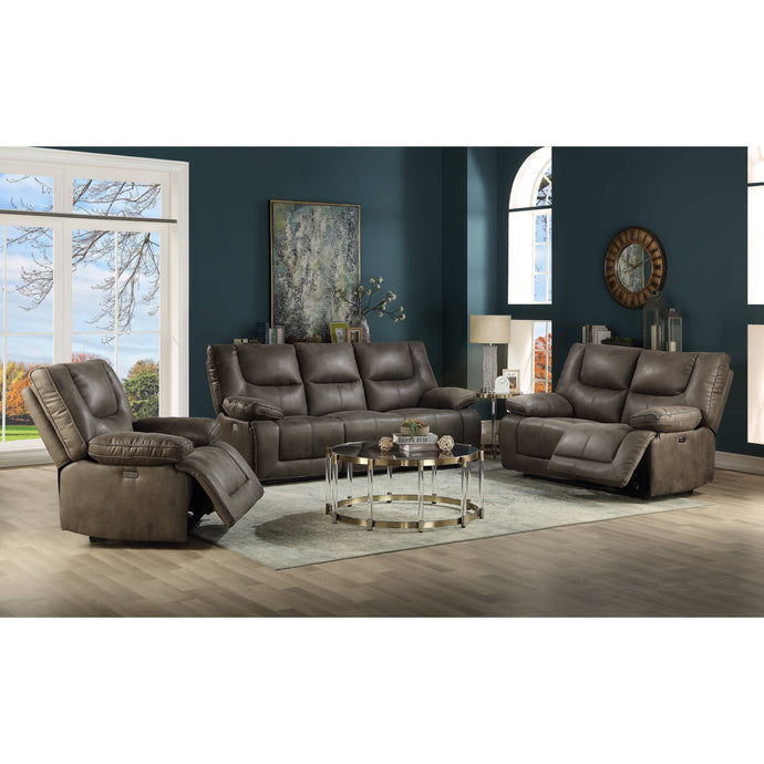 Acme Harumi Gray Leather Finish 3 Piece Recliner Sofa Set