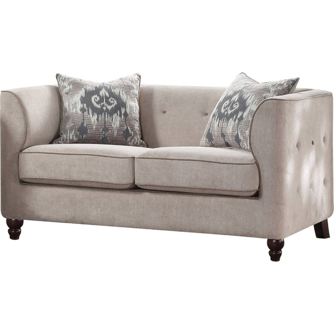 Acme Cyndi Tan Fabric Finish Traditional Loveseat