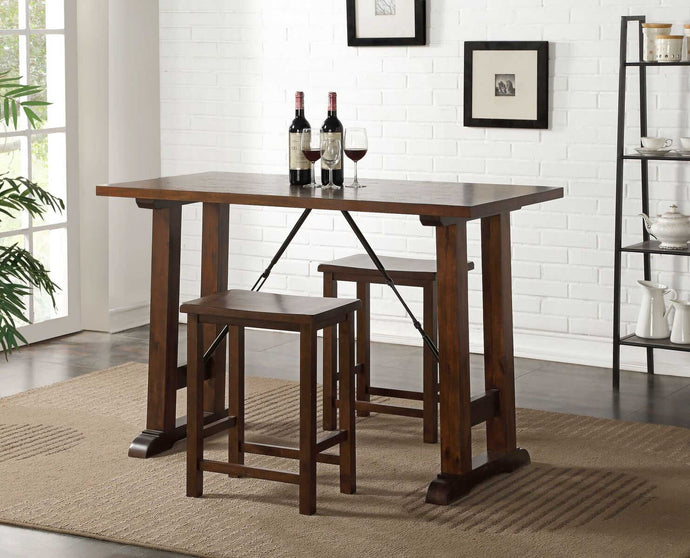 Acme Filbert Walnut And Black Wood Finish 3 Piece Bar Table Set
